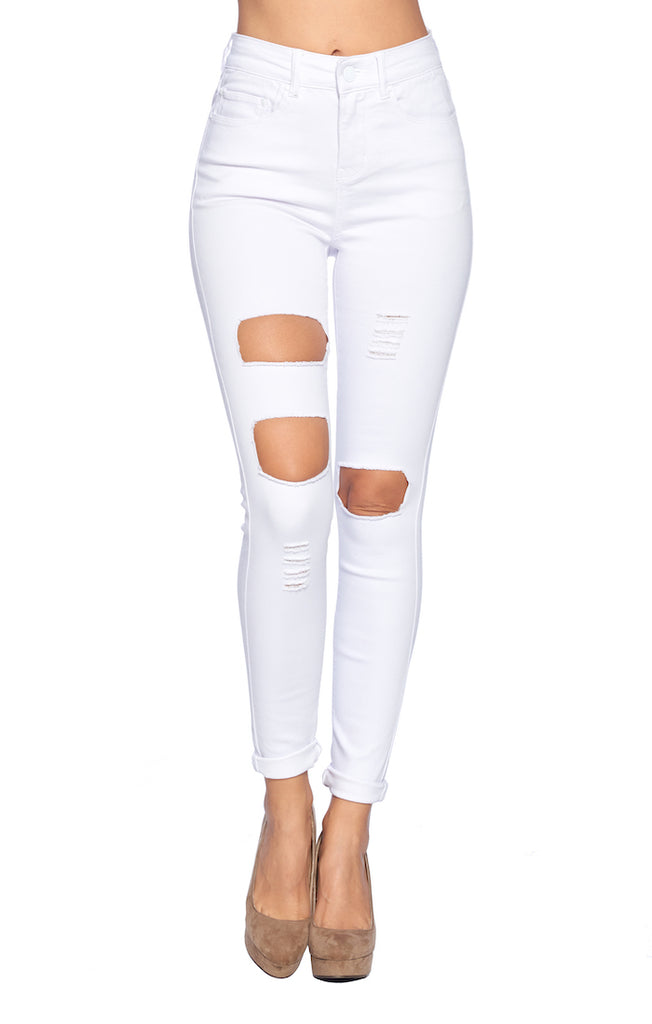 [Blue Age] High Rise White Skinny Jean Pants - Blueage Jeans