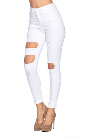 Load image into Gallery viewer, [Blue Age] High Rise White Skinny Jean Pants - Blueage Jeans