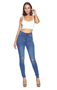 [Blue Age] High Rise Knee Ripped Jeans - Blueage Jeans