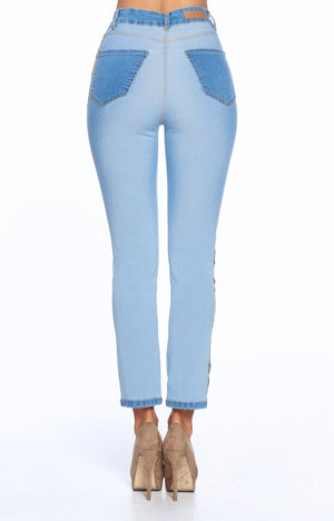 Load image into Gallery viewer, [Blue Age] Slim Straight Reversed High rise Ankle Jeans - Blueage Jeans
