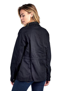 [Blue Age] Womens Button Up Casual Safari Jacket with Waist Drawstrings - Blueage Jeans