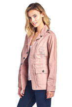 Load image into Gallery viewer, [Blue Age] Womens Button Up Casual Safari Jacket with Waist Drawstrings - Blueage Jeans