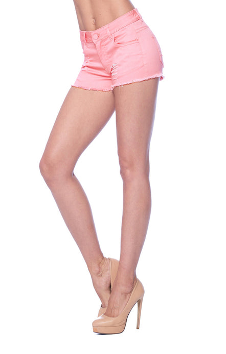 [Blue Age] Womens Shorts in Mauve Color with Frayed Hem - Blueage Jeans
