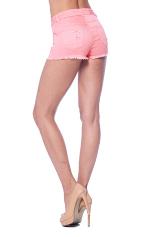 Load image into Gallery viewer, [Blue Age] Womens Shorts in Mauve Color with Frayed Hem - Blueage Jeans