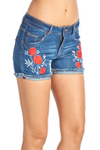 Load image into Gallery viewer, [Blue Ave] Womens Denim Jean Shorts with Flower Embroidery - Blueage Jeans