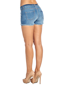 [Blue Ave] Womens Denim Jean Shorts with Flower Embroidery - Blueage Jeans