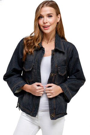 Load image into Gallery viewer, [Blue Age] Fleece Denim Black Jacket - Blueage Jeans