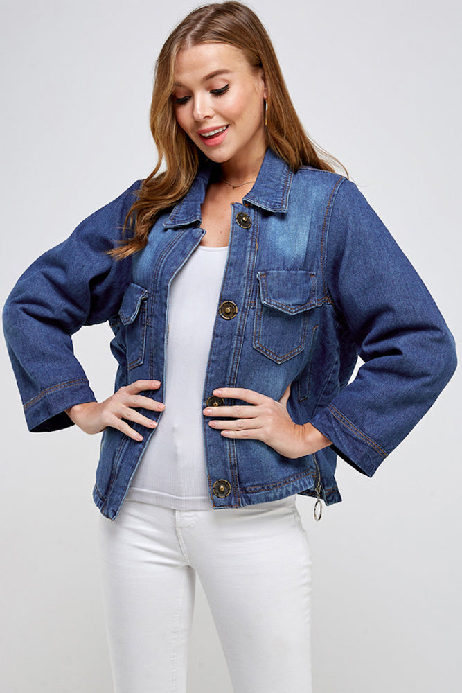 Load image into Gallery viewer, [Blue Age] Fleece Denim Jacket - Blueage Jeans