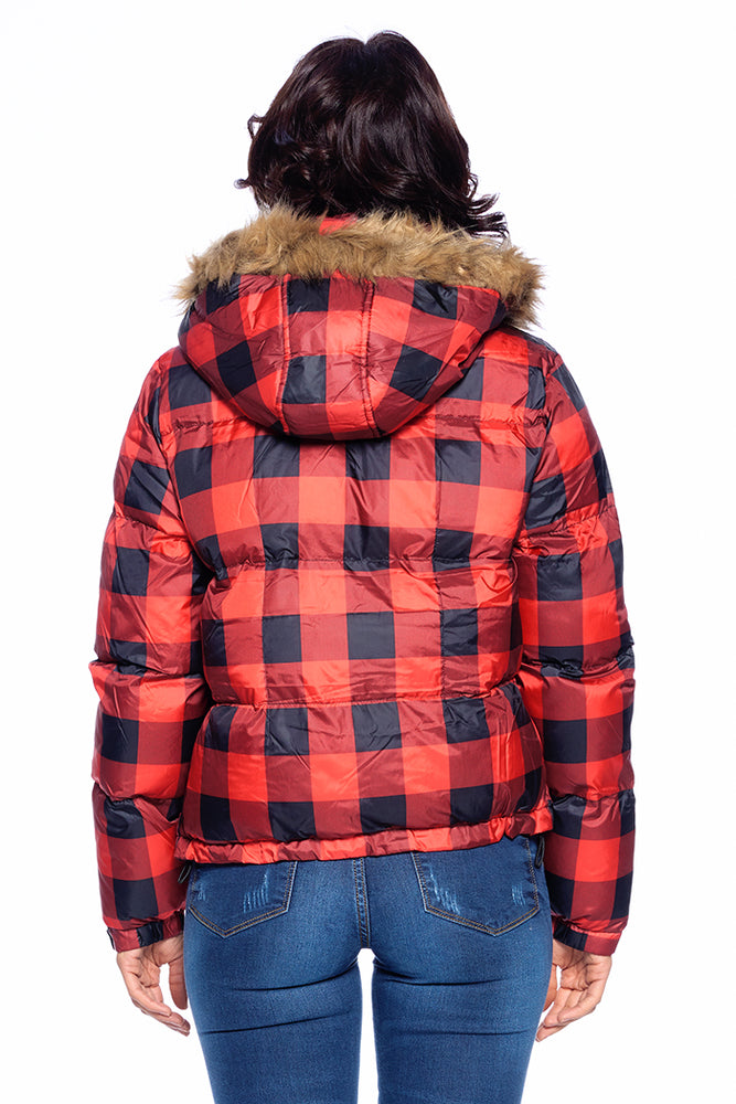 Load image into Gallery viewer, [Blue Age] Checker Puffer Jacket - Blueage Jeans