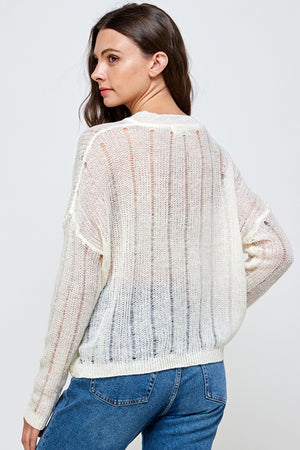 Load image into Gallery viewer, [Blue Age] Oversize See through V Neck Sweater