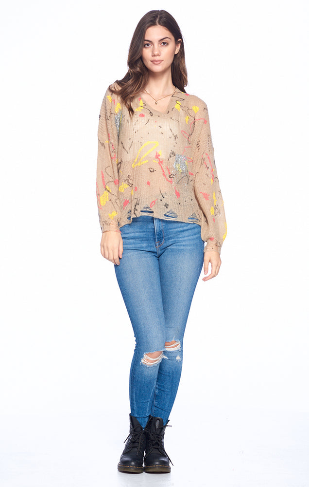 Load image into Gallery viewer, [Blue Age] Oversize See through V Neck Sweater - Blueage Jeans