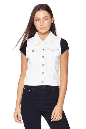 Load image into Gallery viewer, [Blue Age] Women's White Denim Vest - Blueage Jeans