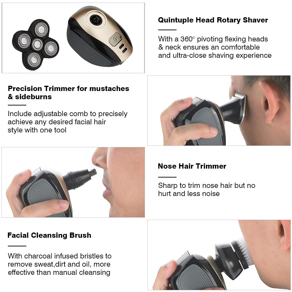 Electric Shaver Washable 4D Floating Shaving Machine Men Head