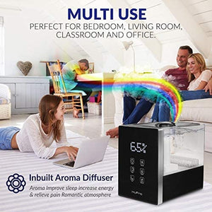 Air Humidifier for Bedroom Top Fill 6L Large Capacity for Large Room Warm& Cool Mist Ultrasonic Humidifier with Humidistat, Essential Oil Diffuser for Home, Living Room, Baby Room - 40H Humidifying