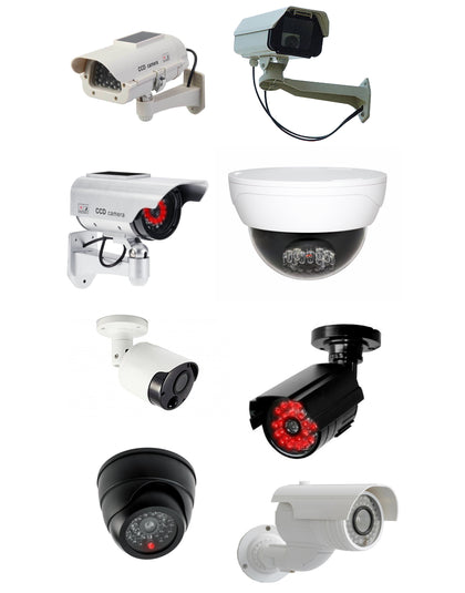 Realistic outdoor dummy (fake) CCTV cameras availible from Bond Online Products.