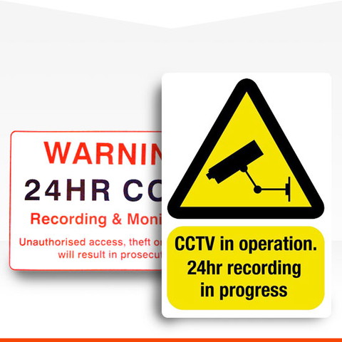 Shop for CCTV and security themed warning stickers and signs for domestic and commercial use.