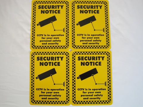 Security Notice Sign (200x150mm) x 4