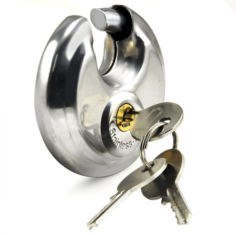 60MM DISC PADLOCK SHACKLE STAINLESS STEEL 2 KEYS WATERPROOF DISCUS PADLOCK