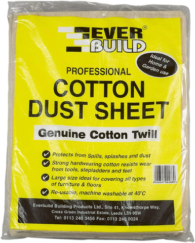 Everbuild Professional Cotton Dust Sheet 12ft X 9ft (3.6m X 2.7m)