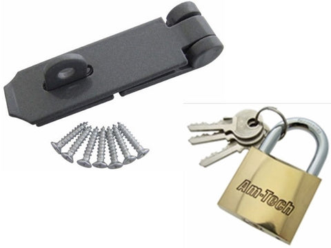 HEAVY DUTY SECURITY SET HASP AND STAPLE - BRASS PADLOCK - 3 KEYS