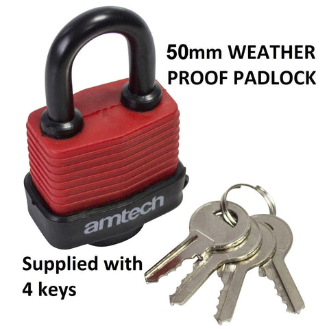 Weatherproof Durable 50mm Security PADLOCK With 4 Keys Garage Home Safety Sheds