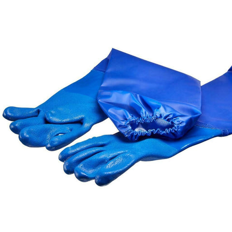 LONG PVC POND & DRAIN GLOVES SIZE 10 XL ELASTICATED SLEEVE N2415 68CM