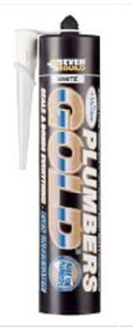 Everbuild Plumbers Gold Sealant and Adhesive with Mould Shield White, 290 ml