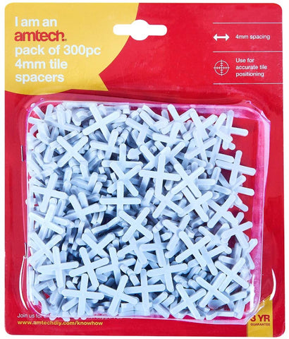 Amtech S4455 4mm Spacers for Accurate Tile Positioning, Grout Over - 300pcs