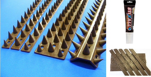 Anti Climb Spikes - Wall / Fence Spikes - Pack of 10 x 45 cm Spike Strips - Fixings Set