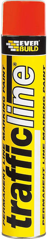 Everbuild TRAFFICRED Trafficline Permanent Line Marking Spray Paint, Red, 700 ml