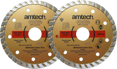 Amtech V0235 115 mm Diamond Turbo Disc Set, Set of 2 Pieces