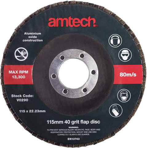 Amtech V0290 115 mm 40 Grit Flap Disc