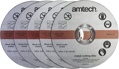 Amtech V1042 5pc 1.2mm x115mm Metal Cutting Discs