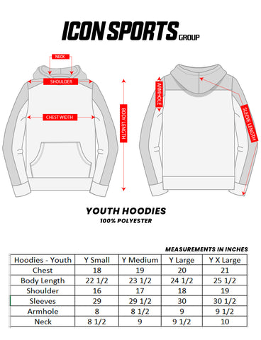 Youth Hoodie size chart by Icon Sports
