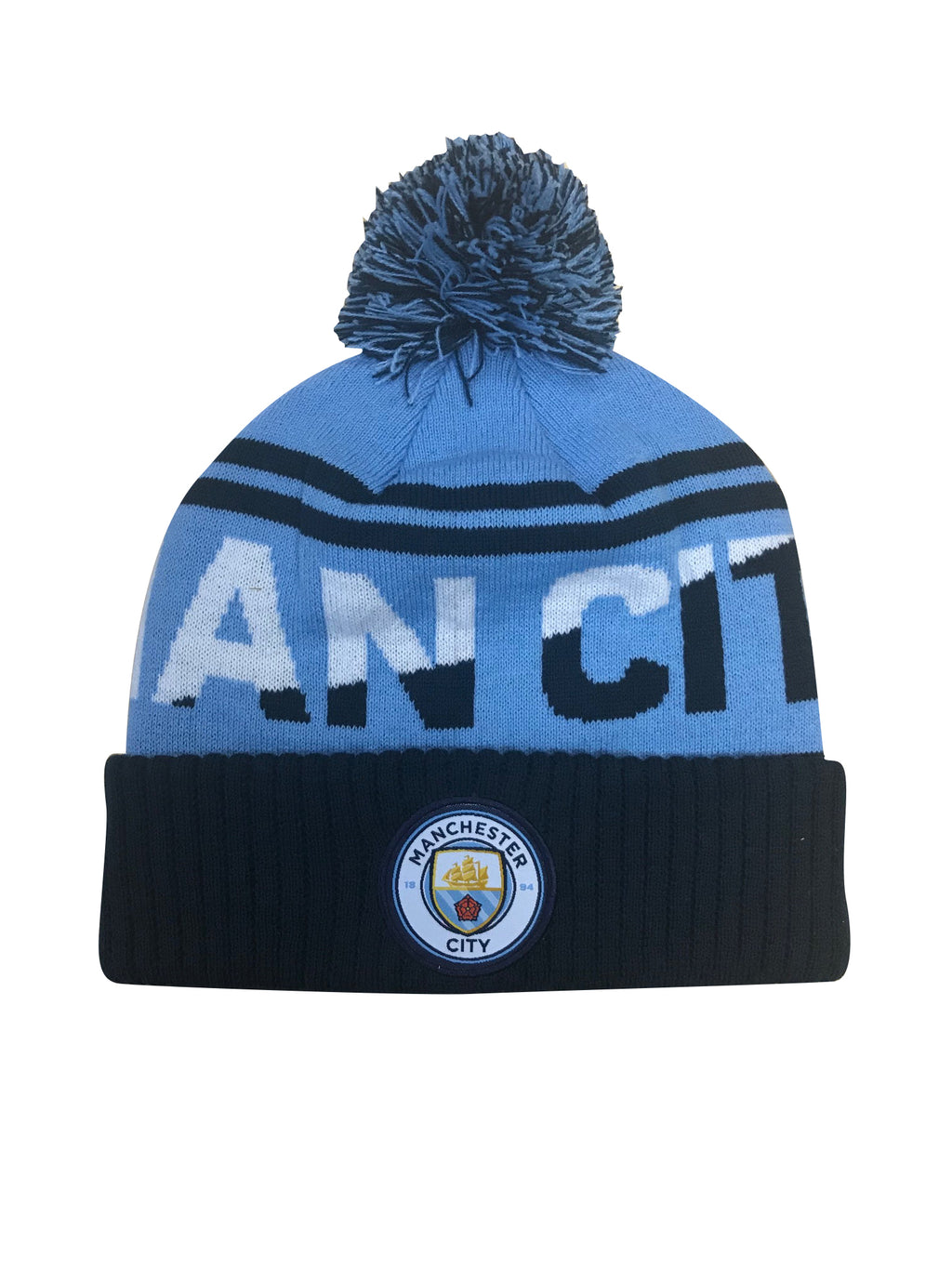 Man City Solid Cuff Pom Beanie