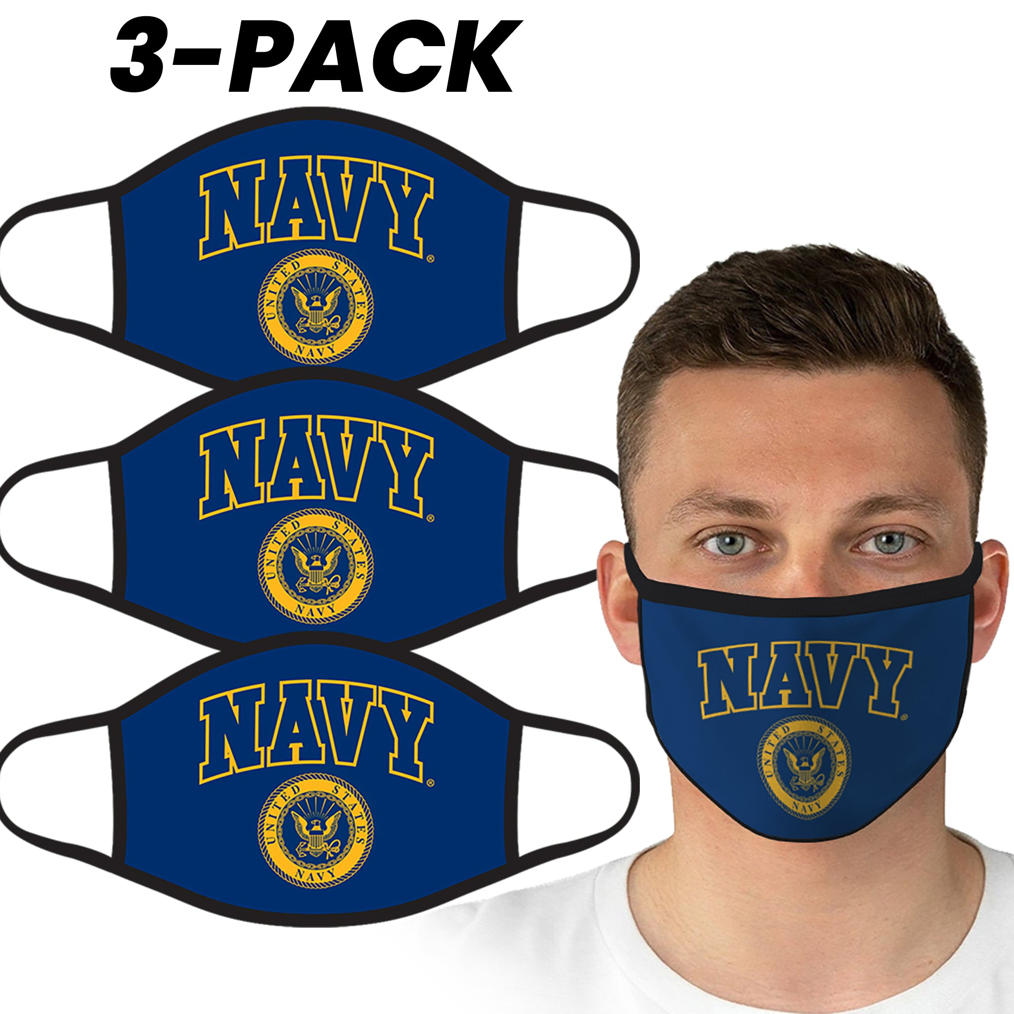 U.S. Navy Blue Logo Face Covering by Icon Sports