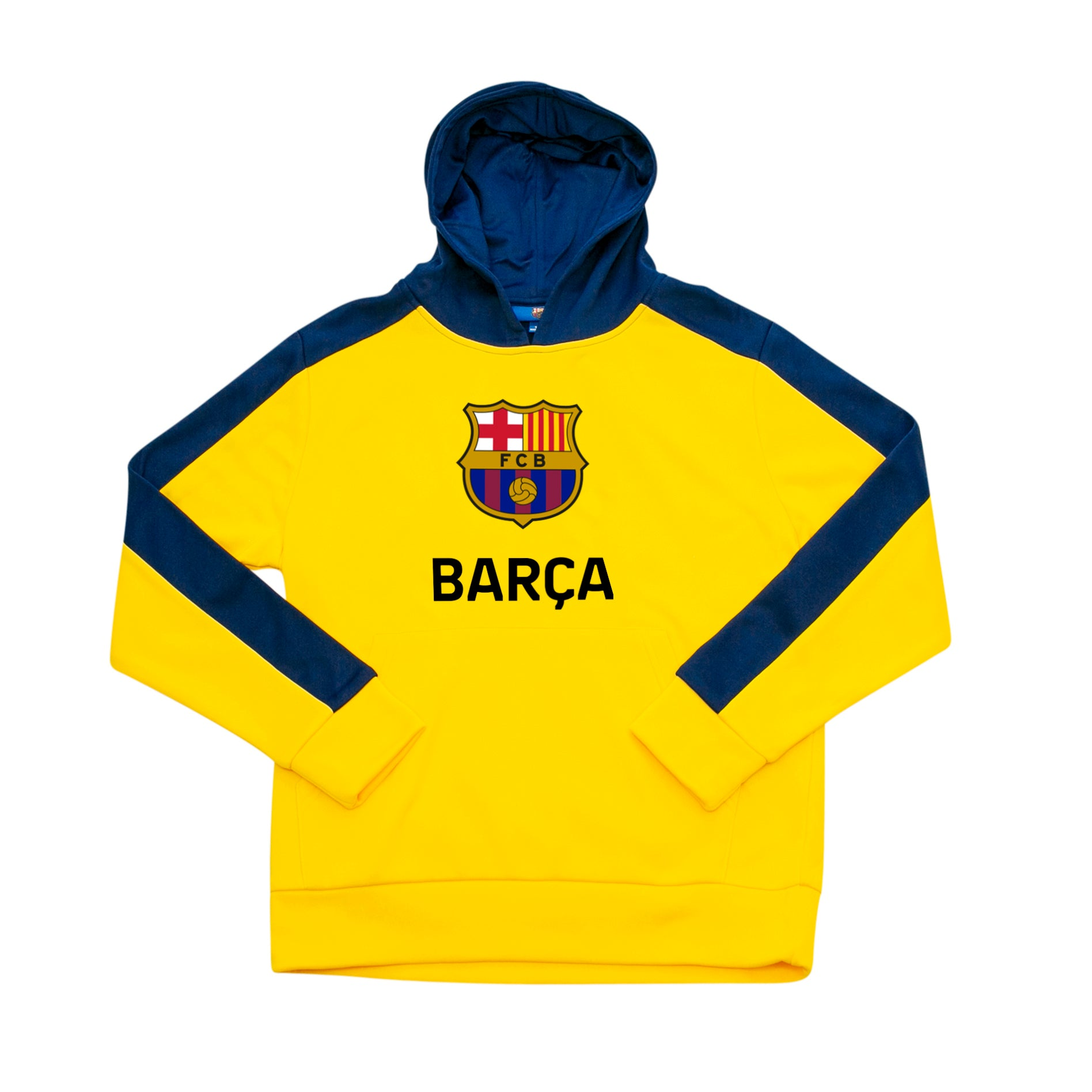 FC Barcelona Youth Side Step Full Color Logo Pullover Hoodie - Yellow by Icon Sports