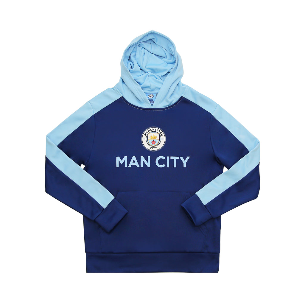 Manchester City Side Step Youth Pullover Hoodie - Navy by Icon Sports