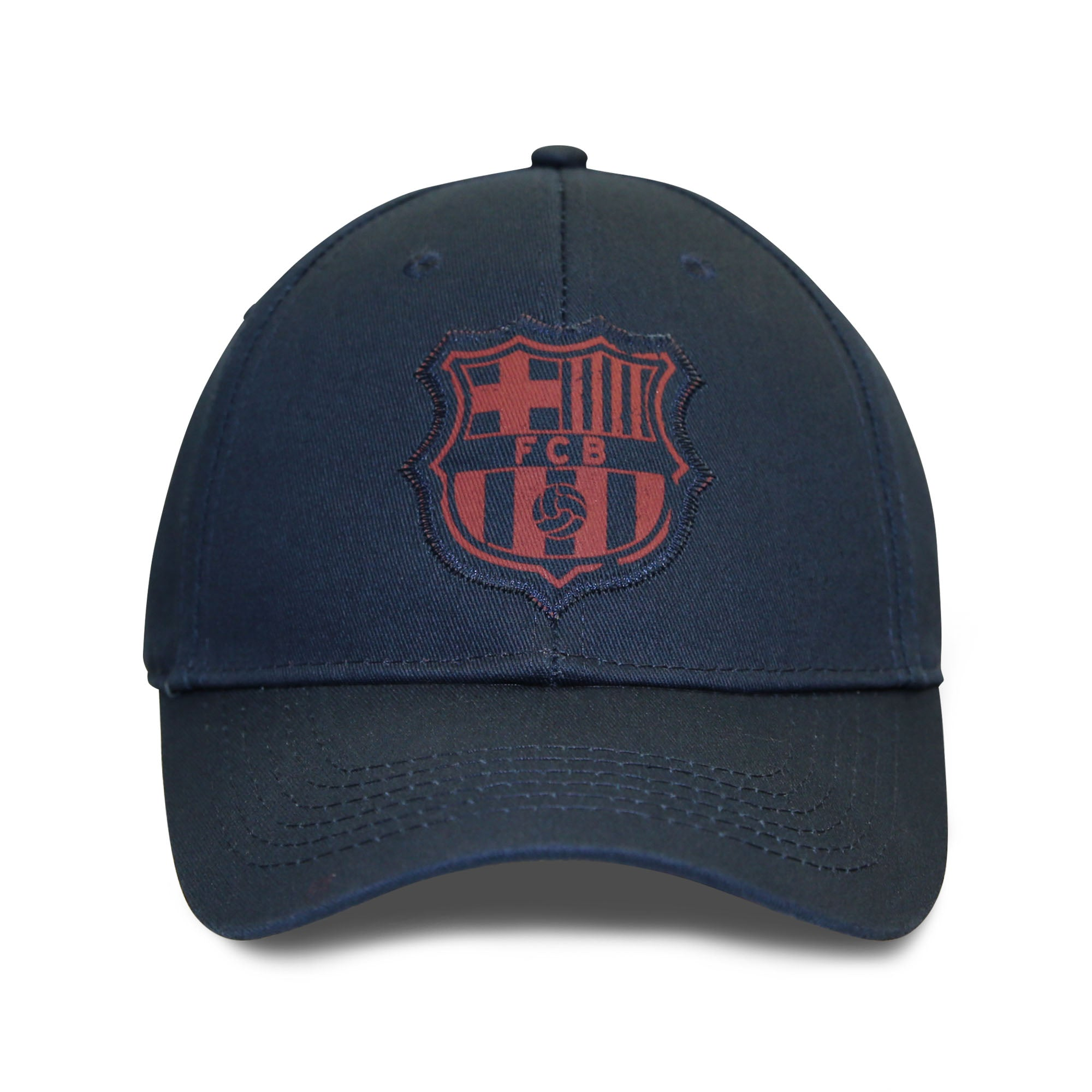 FC Barcelona Printed Patch Logo 6 Panel Structured Cap - Navy