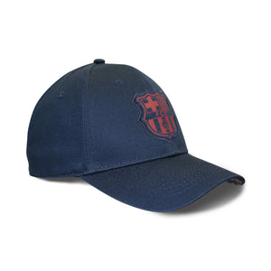 FC Barcelona Printed Patch Logo 6 Panel Structured Cap - Navy by Icon Sports