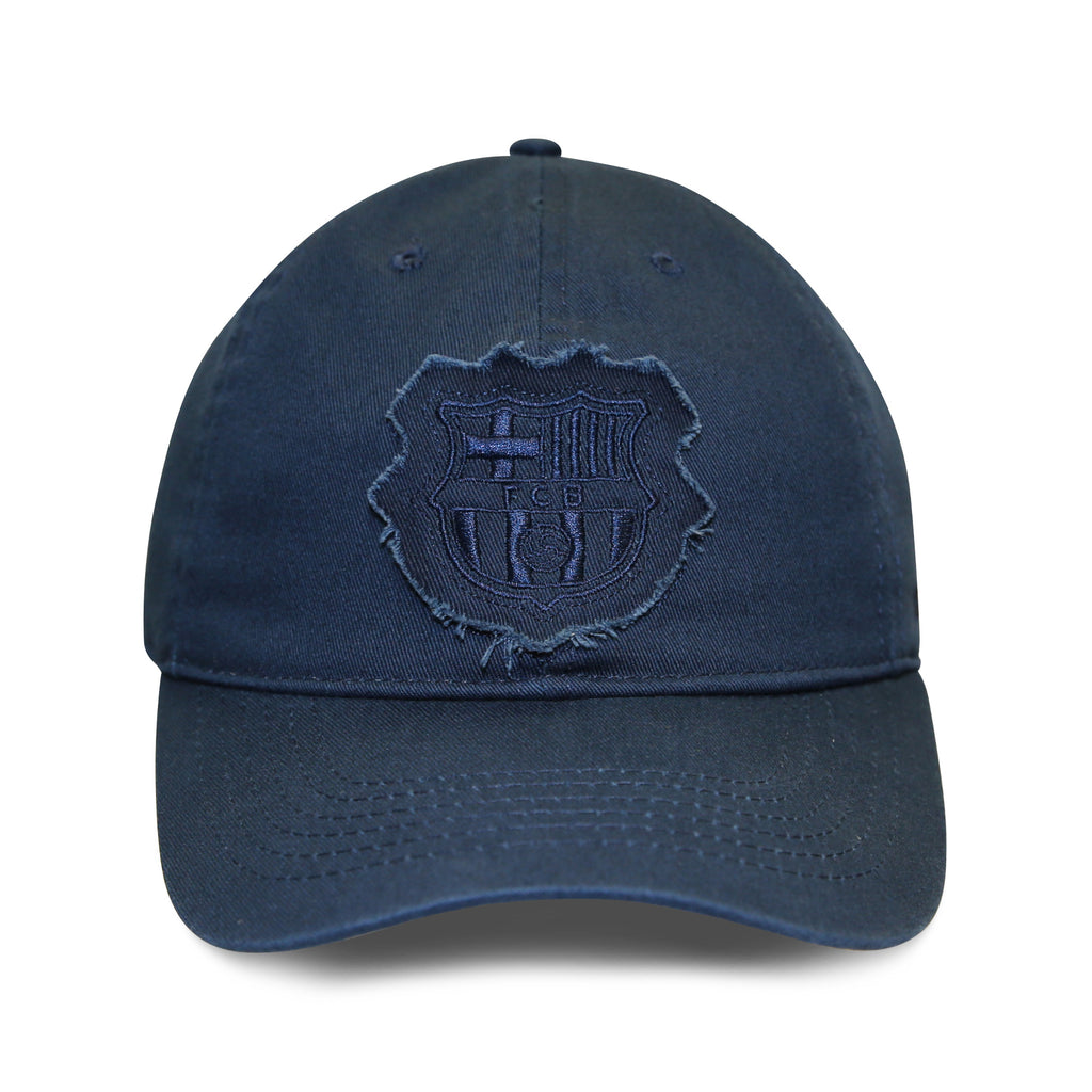 FC Barcelona Distressed Logo Patch 6 Panel Structured Cap - Navy