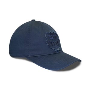 FC Barcelona Distressed Logo Patch 6 Panel Structured Cap - Navy by Icon Sports