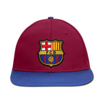 FC Barcelona Embroidered Logo 6 Panel Snapback - Burgundy/Royal