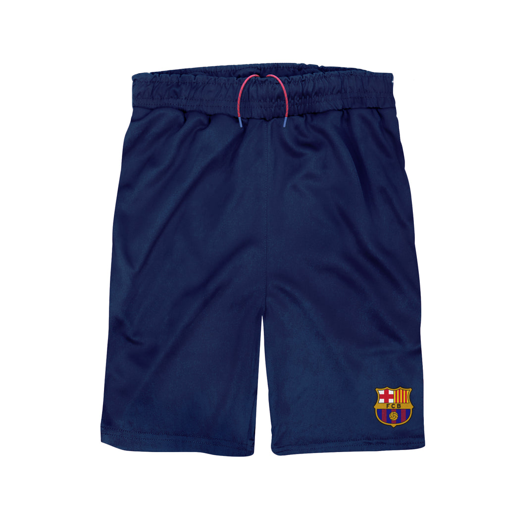 FC Barcelona Youth Reflective Athletic Soccer Shorts in Navy by Icon Sports