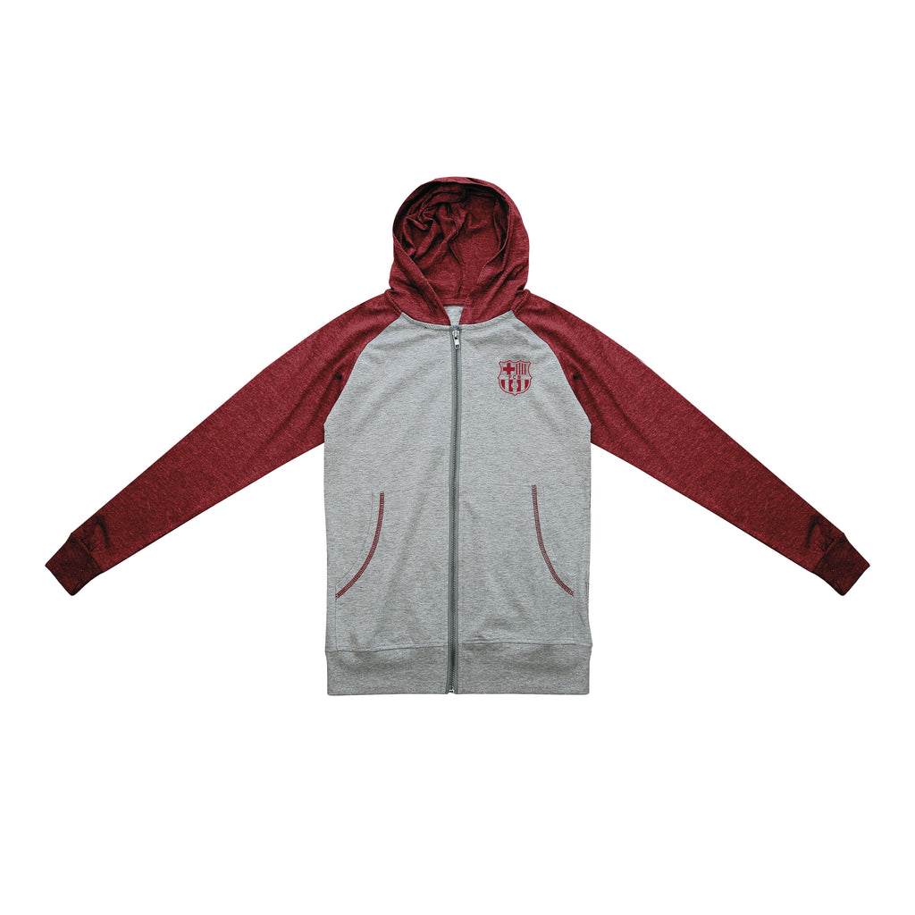 FC Barcelona Youth Lightweight Full-Zip Hoodie - Maroon by Icon Sports