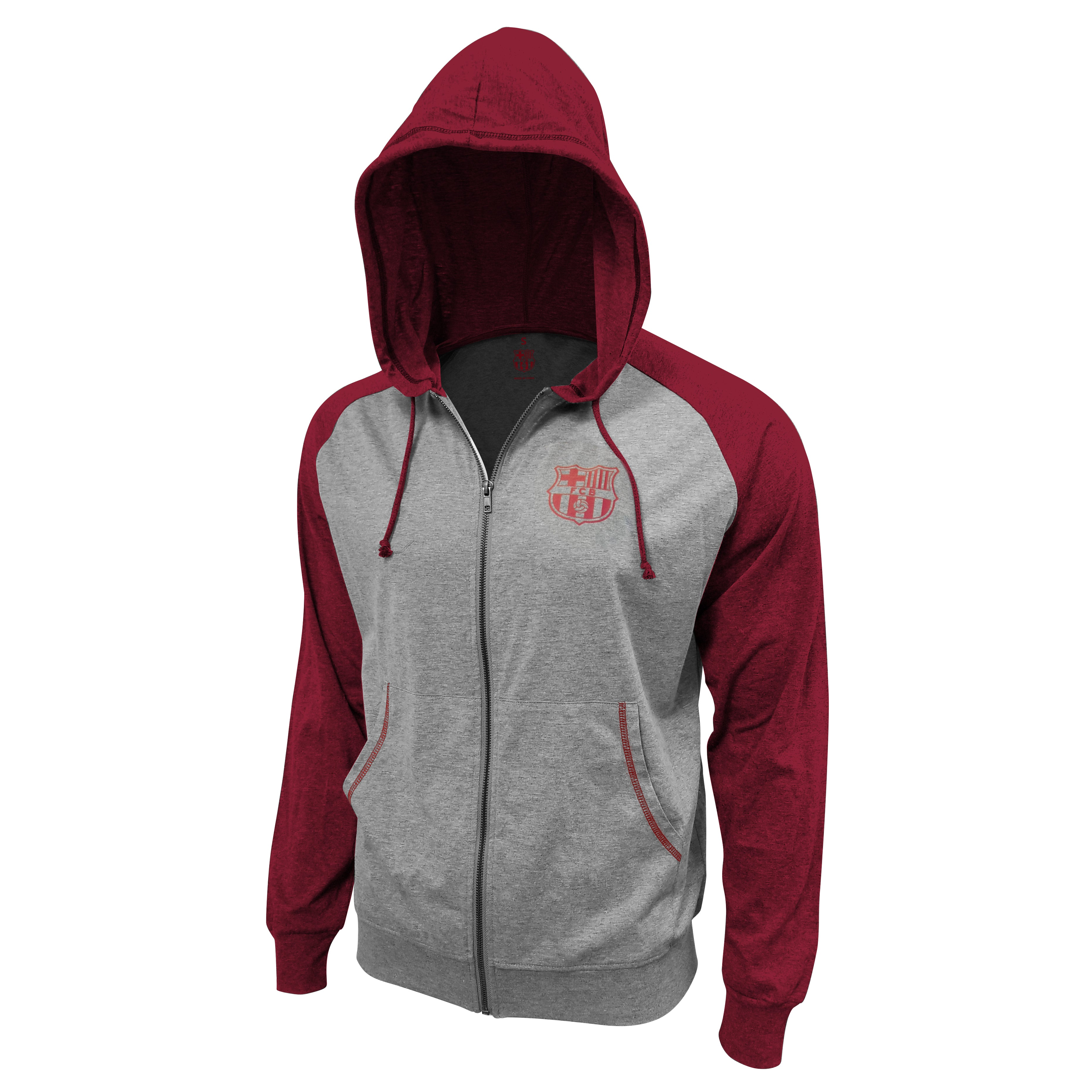 FC Barcelona Lightweight Full-Zip Hoodie - Navy by Icon Sports