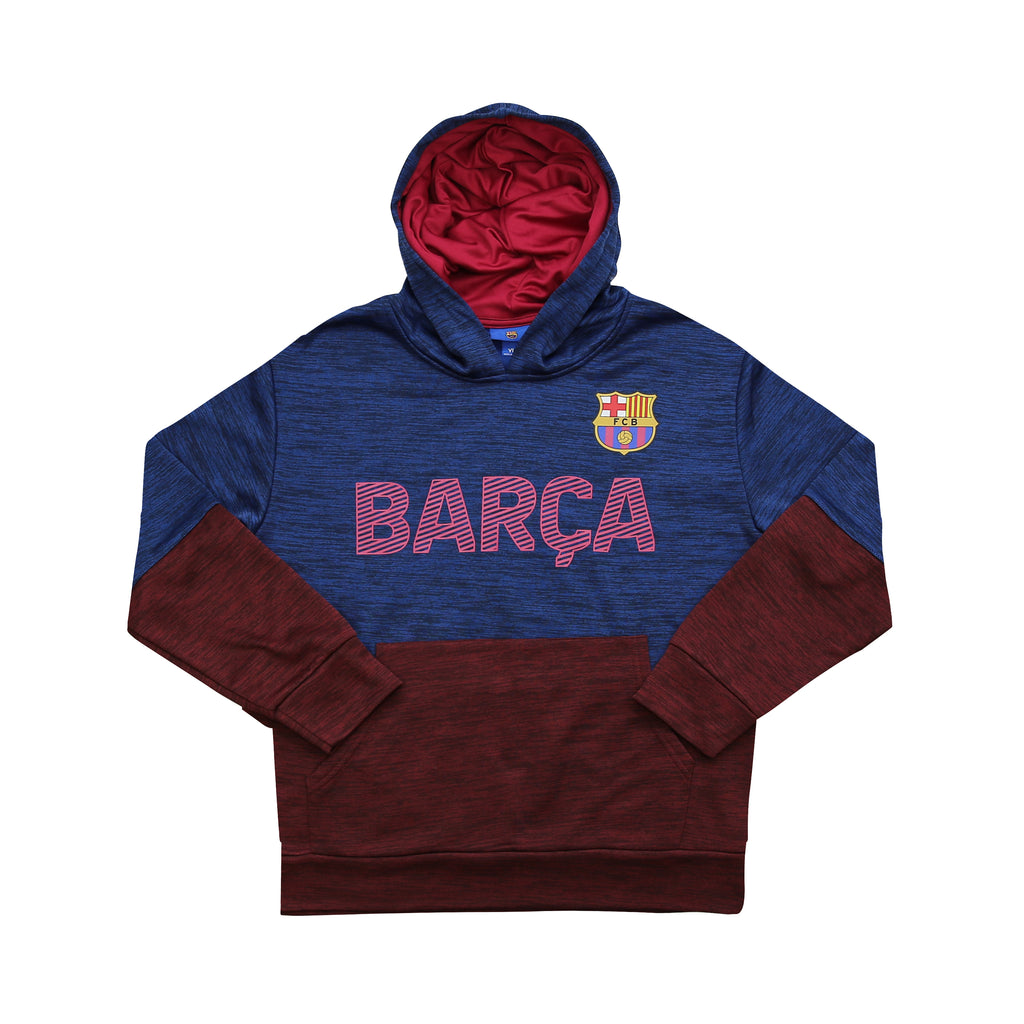 "FC Barcelona Youth ""Space-Dye"" Pullover Hoodie - Black by Icon Sports"