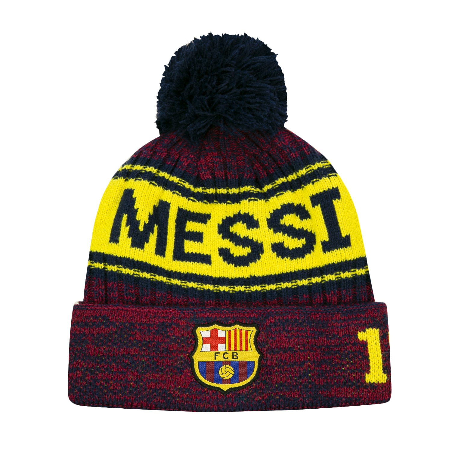 FC Barcelona Heathered Messi Pom Beanie by Icon Sports