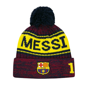 FC Barcelona Heathered Messi Youth Pom Beanie by Icon Sports