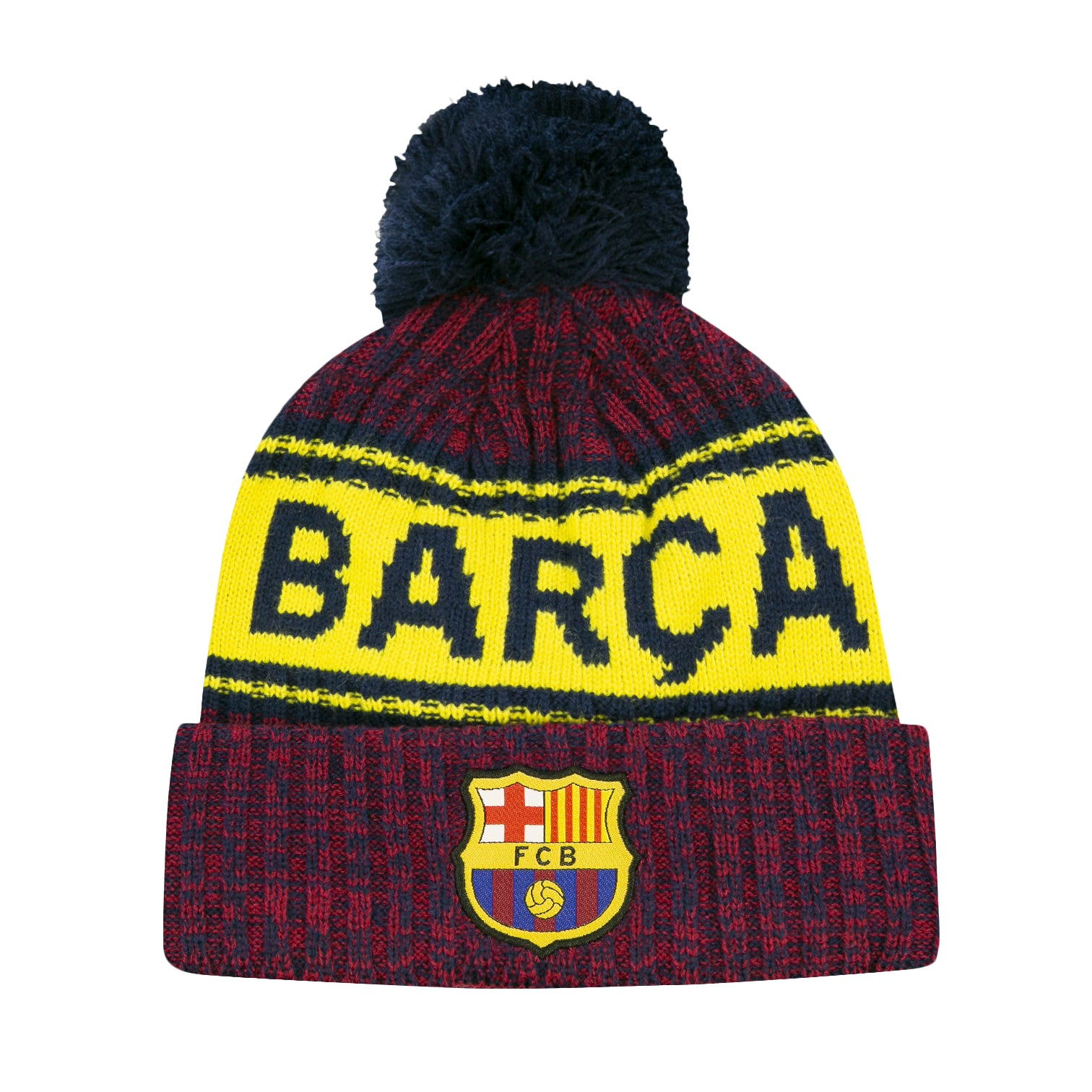 FC Barcelona Heathered Pom Youth Beanie by Icon Sports